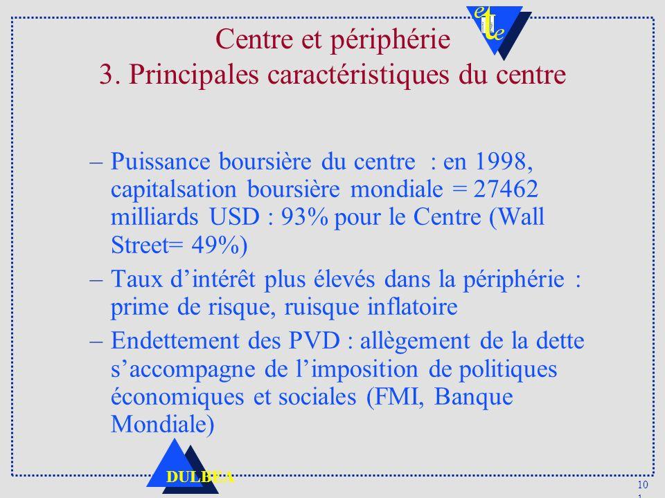 Centre et périphérie 3. Principales caractéristiques du centre