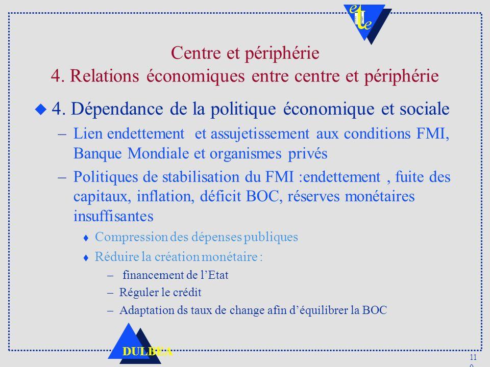 4. Dépendance de la politique économique et sociale