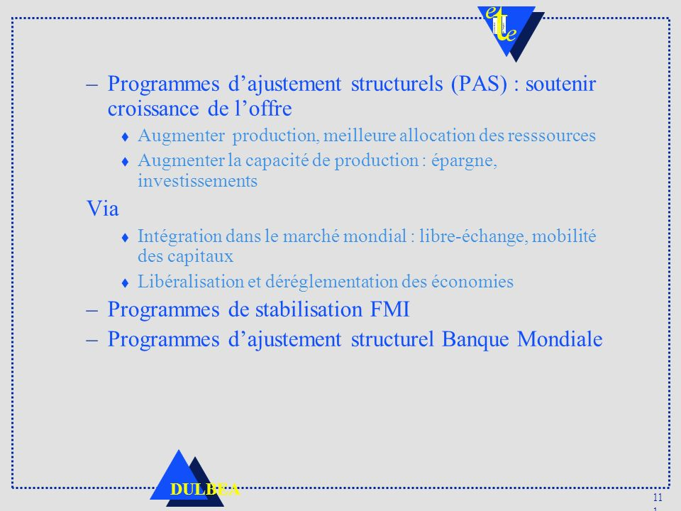 Programmes de stabilisation FMI