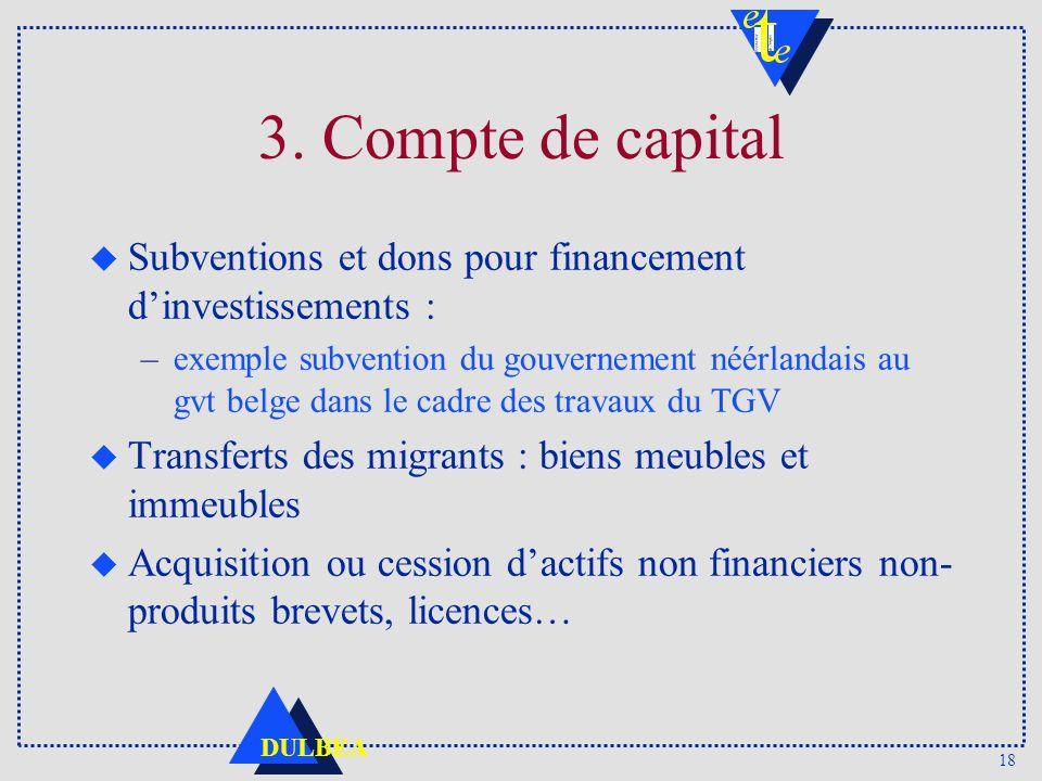 3. Compte de capital Subventions et dons pour financement d'investissements :