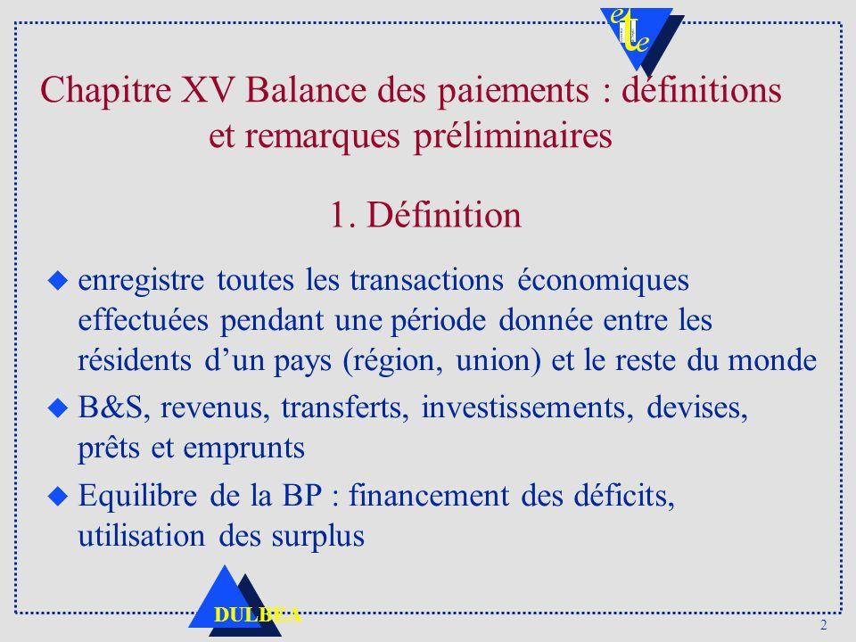 Chapitre XV Balance des paiements : définitions et remarques préliminaires