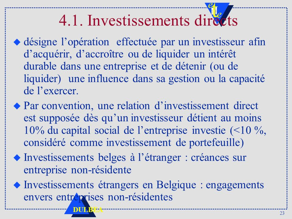 4.1. Investissements directs