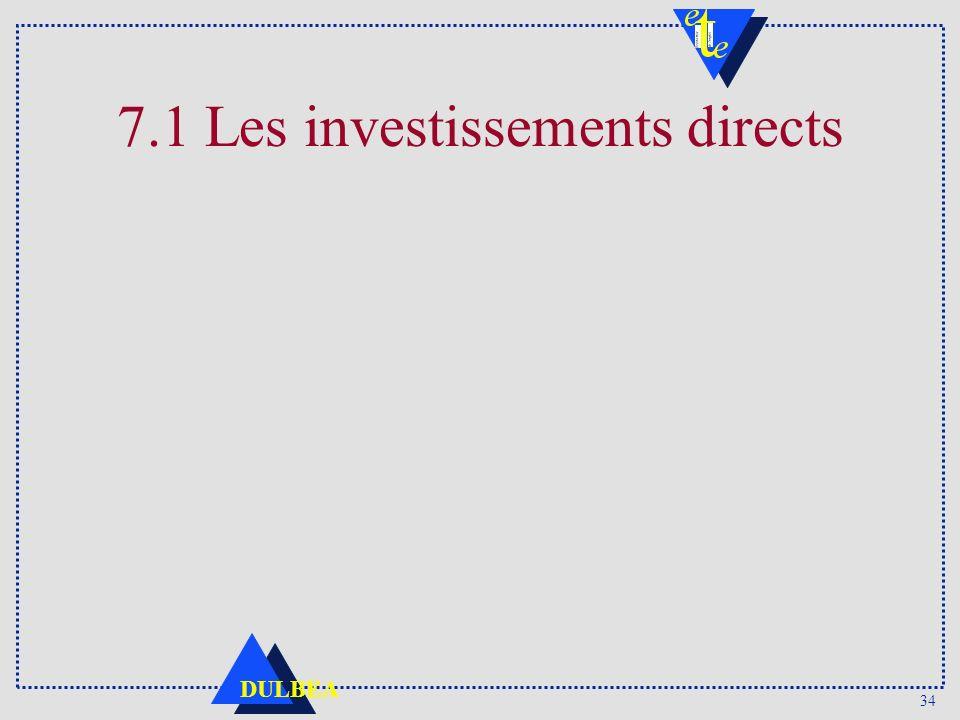7.1 Les investissements directs