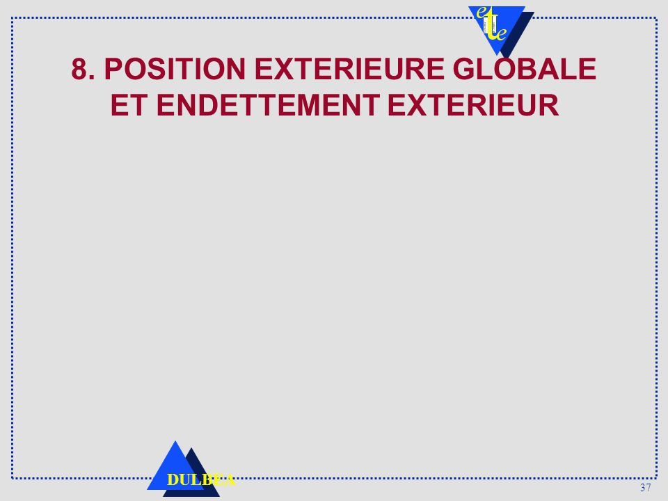8. POSITION EXTERIEURE GLOBALE ET ENDETTEMENT EXTERIEUR
