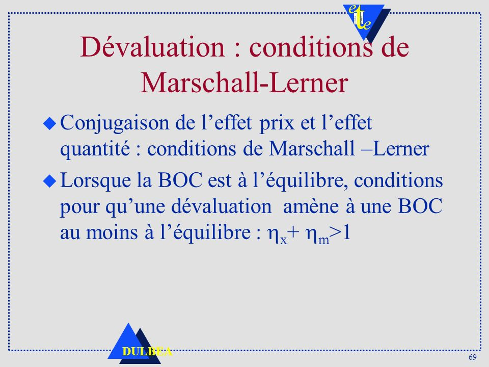 Dévaluation : conditions de Marschall-Lerner
