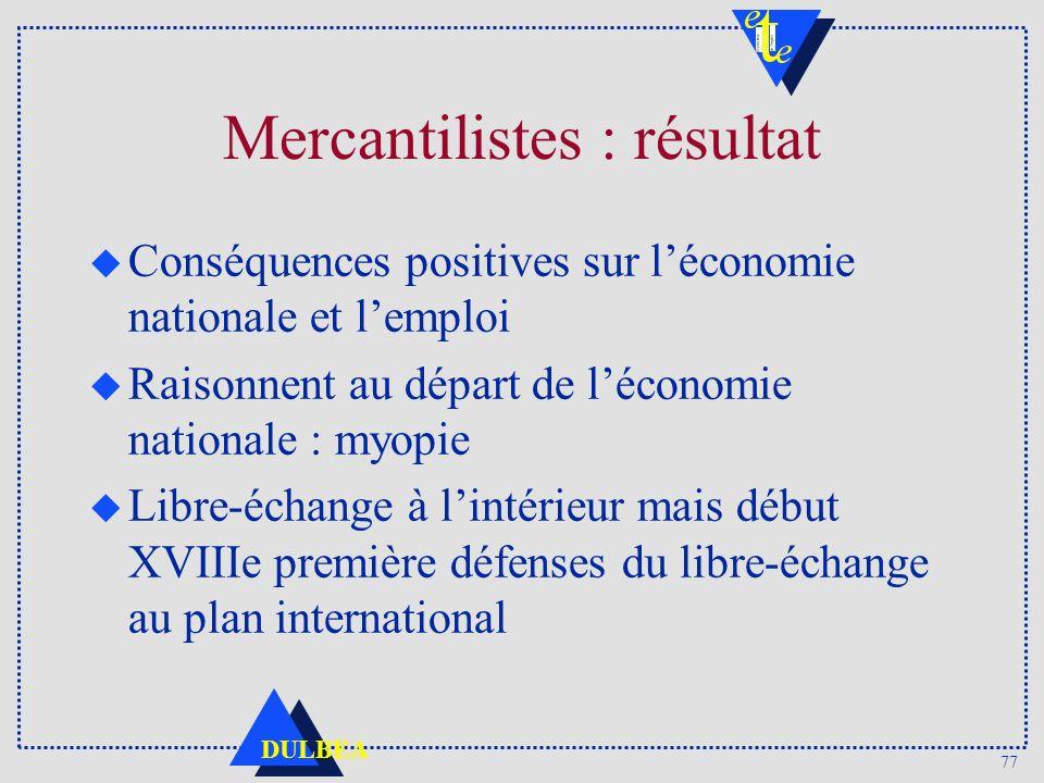 Mercantilistes : résultat