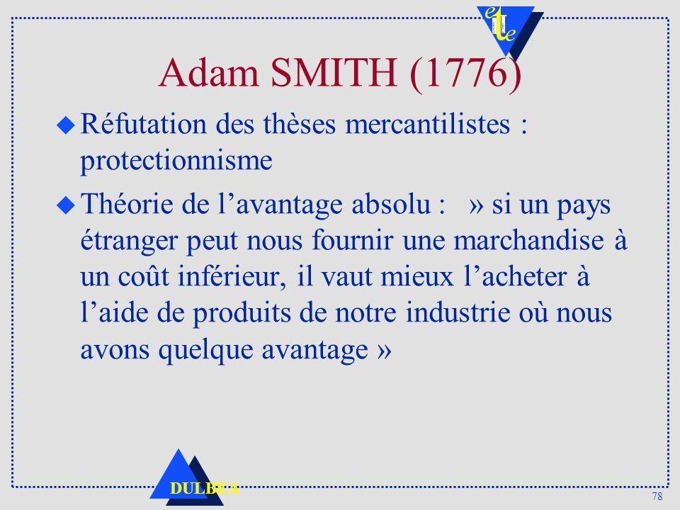 Adam SMITH (1776) Réfutation des thèses mercantilistes : protectionnisme.