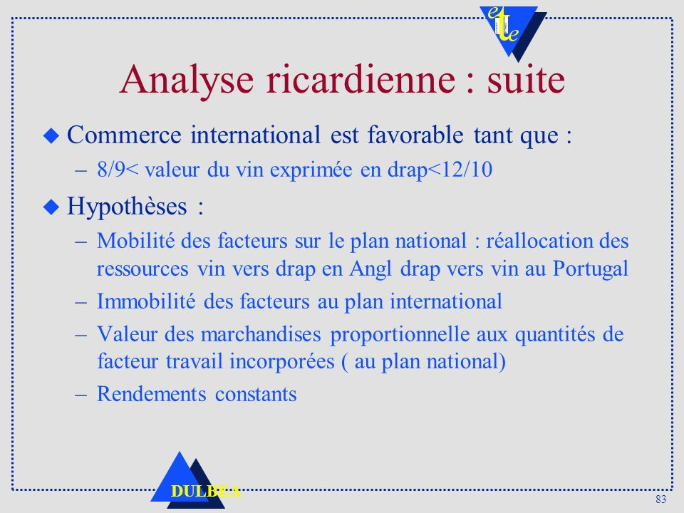 Analyse ricardienne : suite