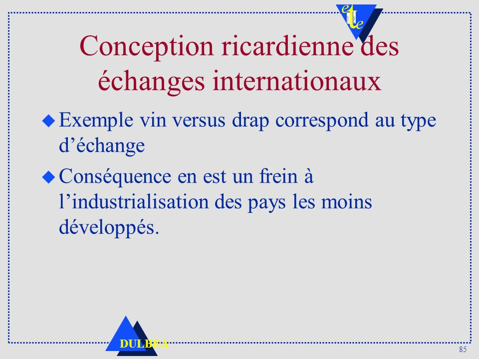 Conception ricardienne des échanges internationaux
