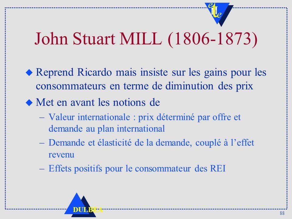 John Stuart MILL (1806-1873) Reprend Ricardo mais insiste sur les gains pour les consommateurs en terme de diminution des prix.