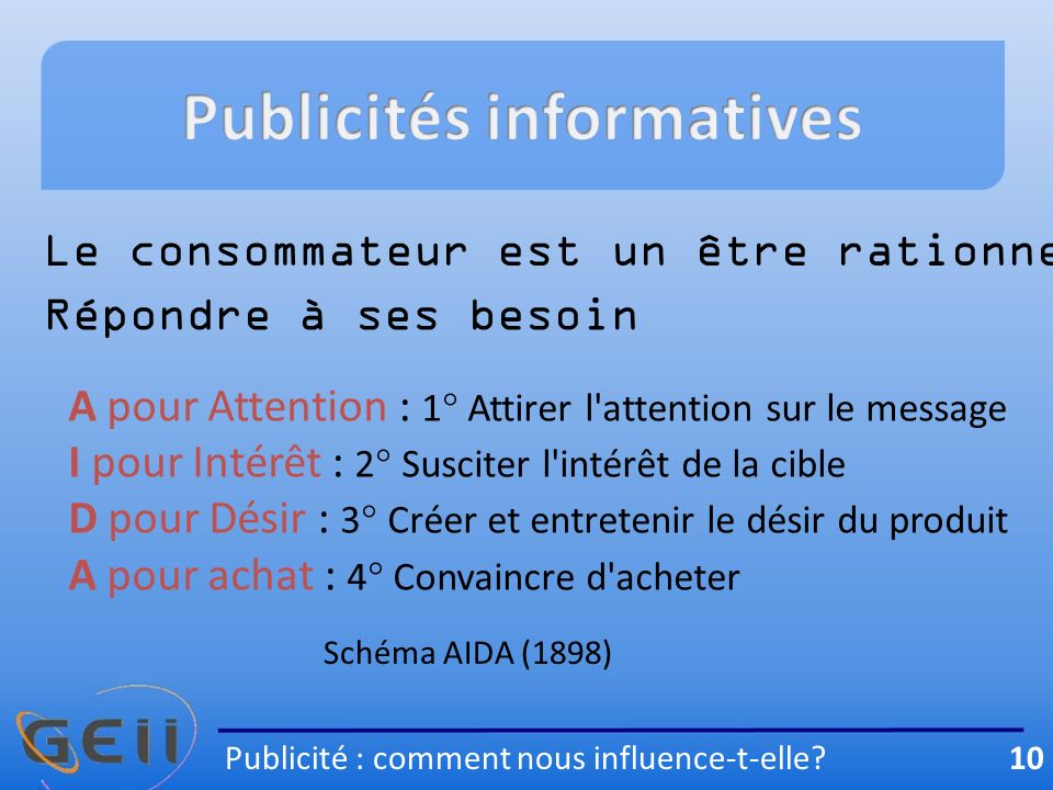 Publicités informatives