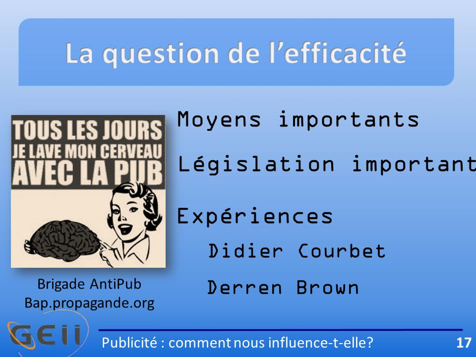 La question de l'efficacité