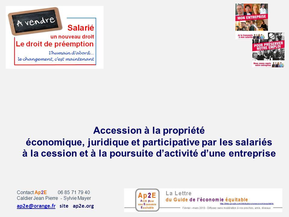 Accession à la propriété économique, juridique et participative par les salariés à la cession et à la poursuite d'activité d'une entreprise