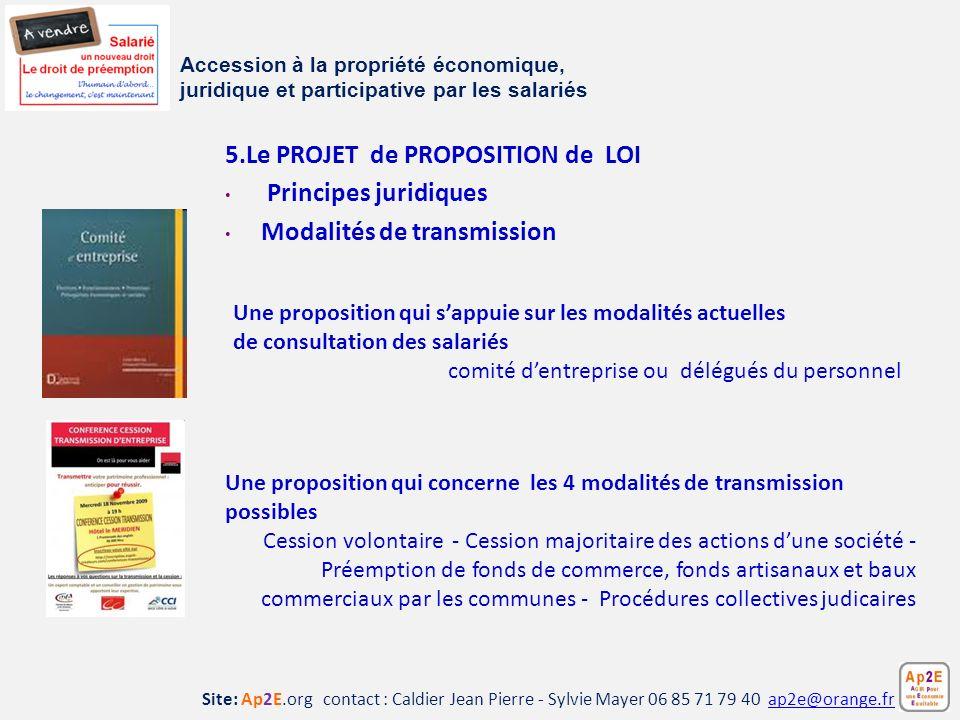 5.Le PROJET de PROPOSITION de LOI Principes juridiques