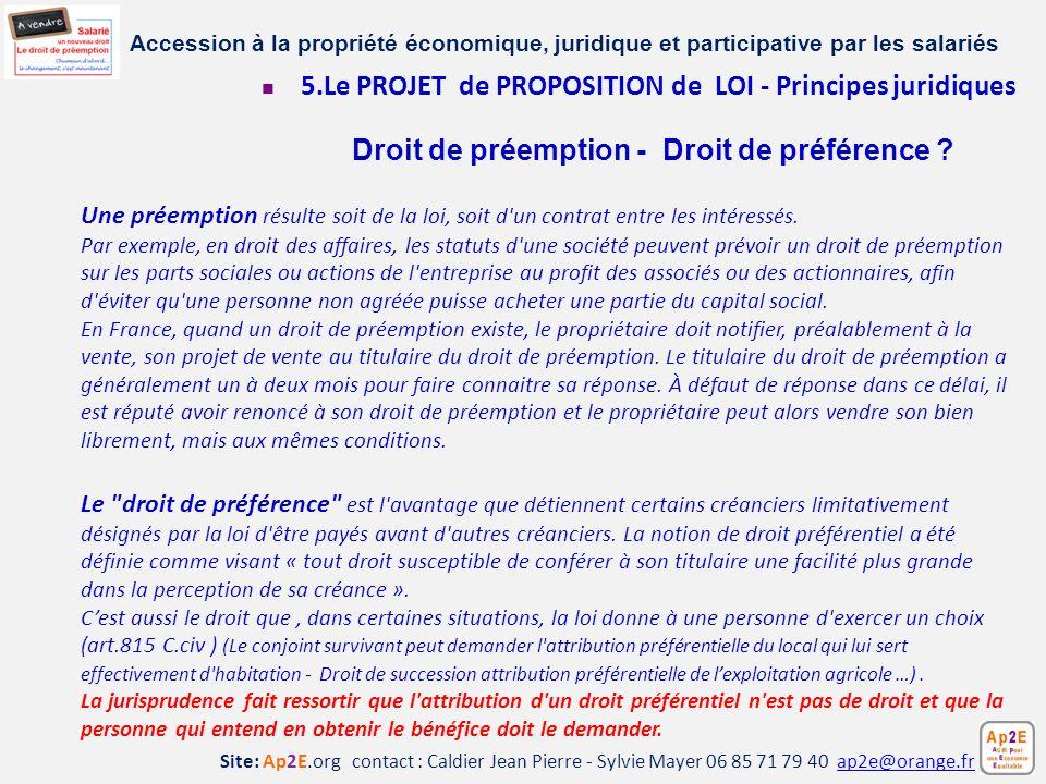 5.Le PROJET de PROPOSITION de LOI - Principes juridiques