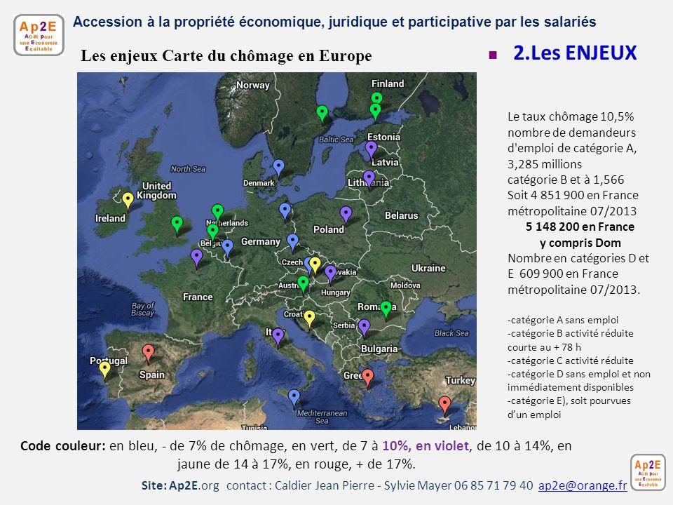 2.Les ENJEUX Les enjeux Carte du chômage en Europe