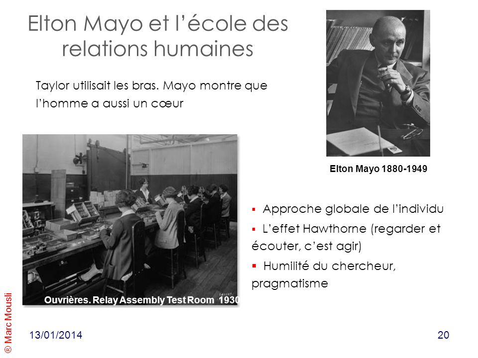 Elton Mayo et l'école des relations humaines
