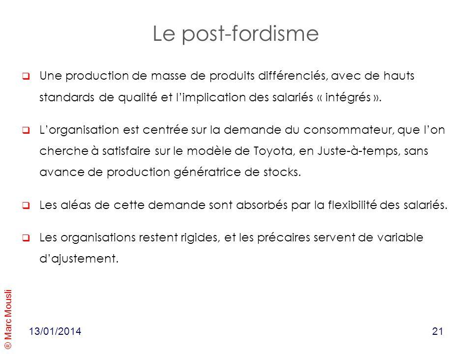Le post-fordisme Une production de masse de produits différenciés, avec de hauts standards de qualité et l'implication des salariés « intégrés ».