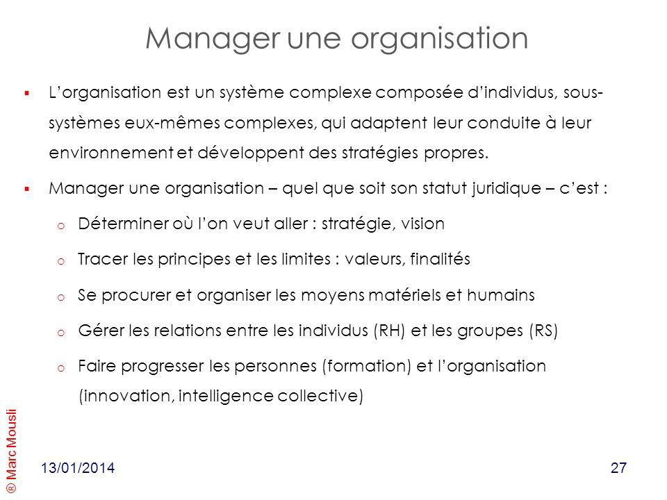 Manager une organisation