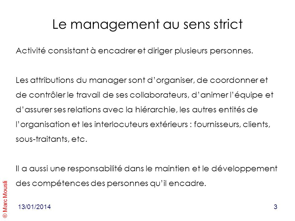 Le management au sens strict