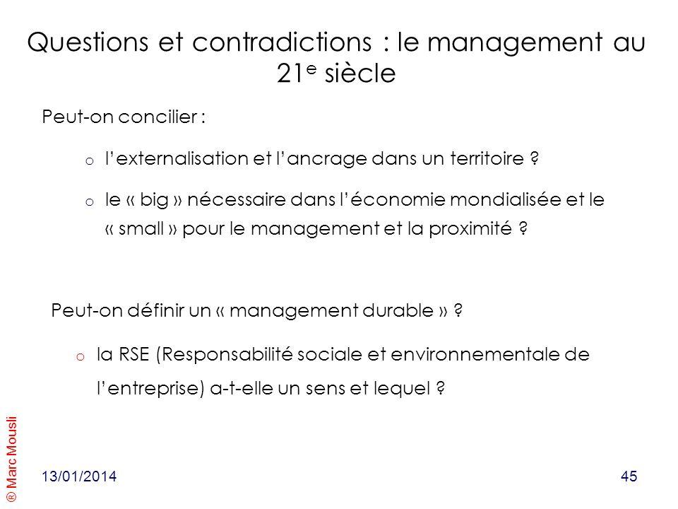 Questions et contradictions : le management au 21e siècle
