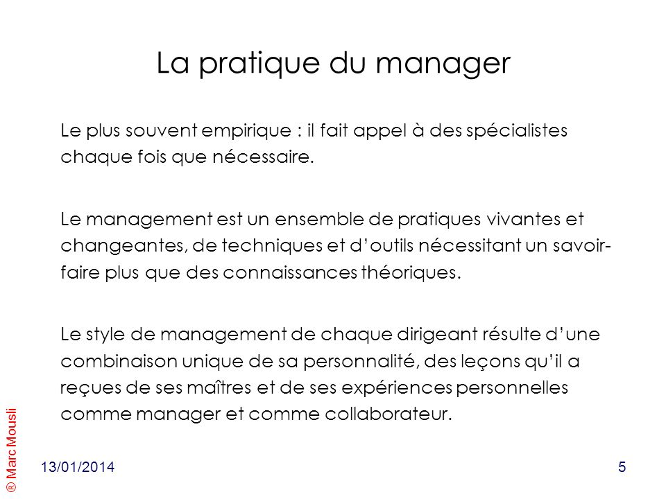 La pratique du manager