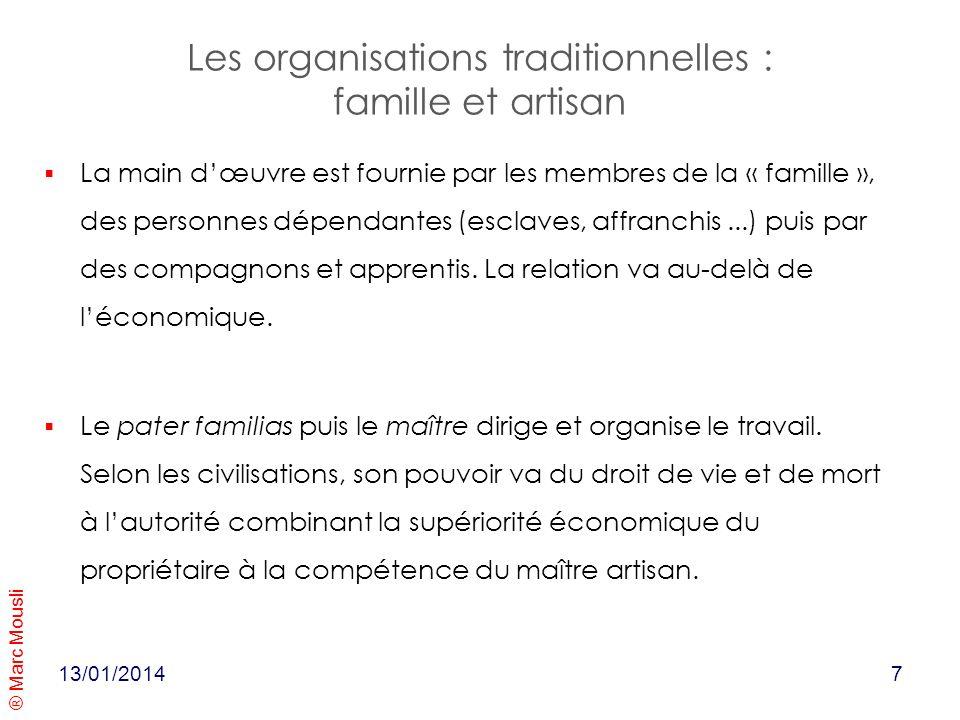 Les organisations traditionnelles : famille et artisan