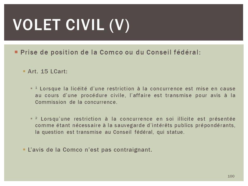 Volet civil (V) Prise de position de la Comco ou du Conseil fédéral: