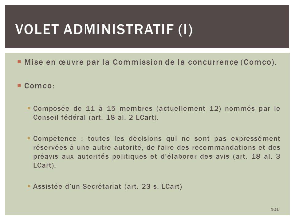 Volet administratif (I)