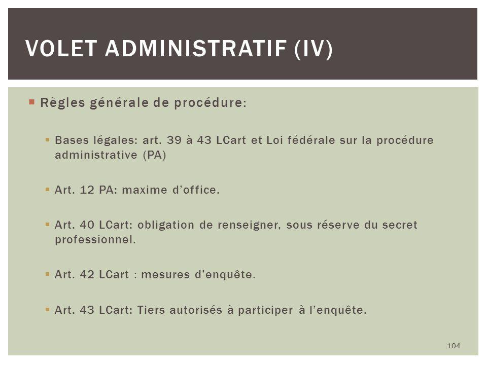 Volet administratif (IV)