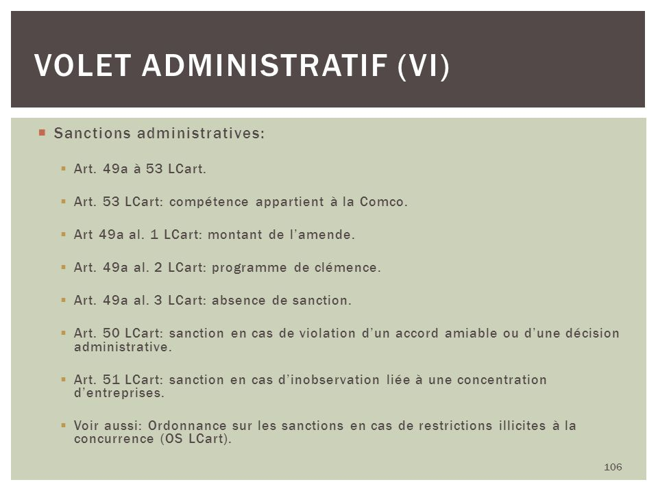 Volet administratif (VI)