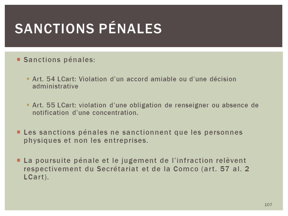 Sanctions pénales Sanctions pénales: