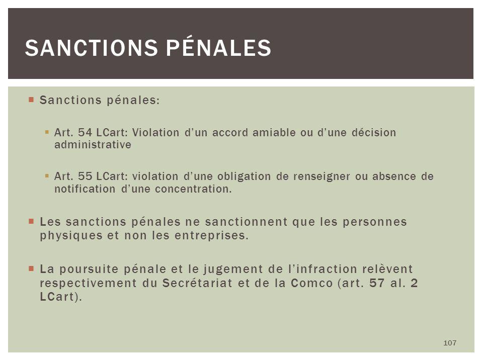 Sanctions pénales Sanctions pénales: