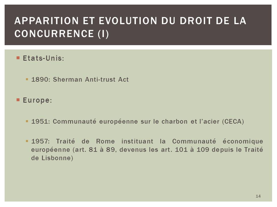Apparition et Evolution du droit de la concurrence (I)