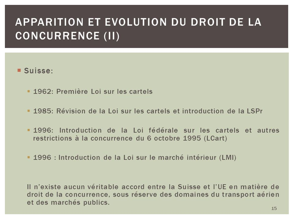 Apparition et Evolution du droit de la concurrence (II)