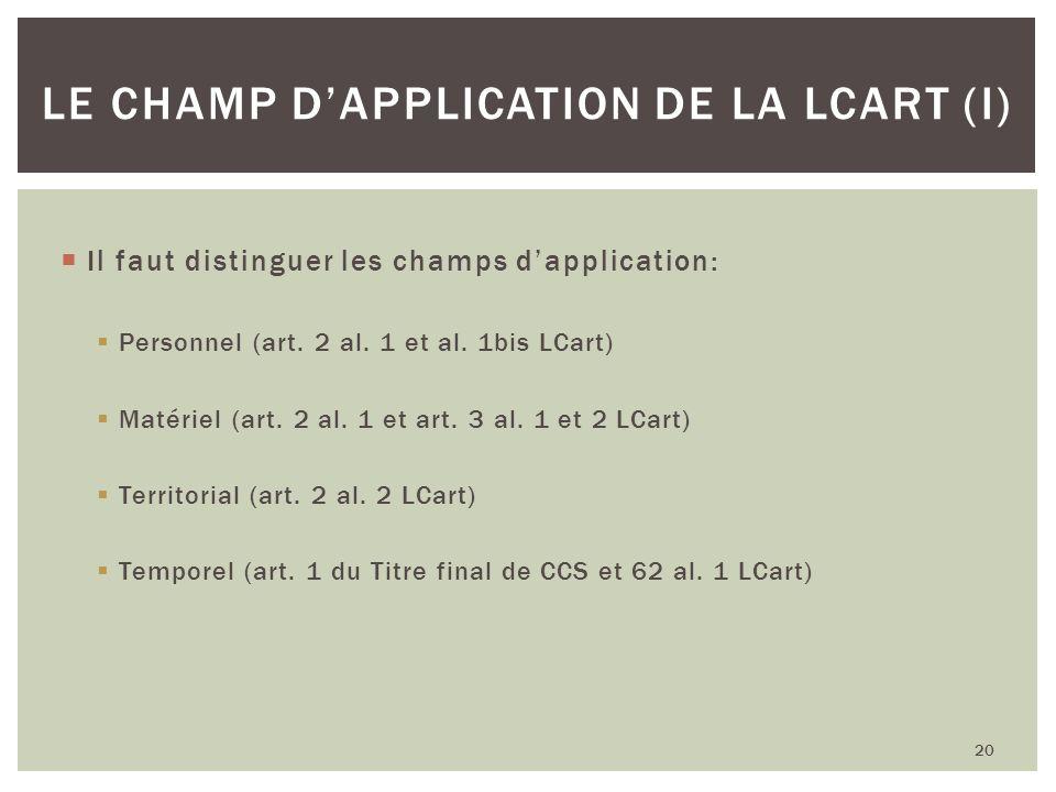 Le champ d'application de la LCart (I)