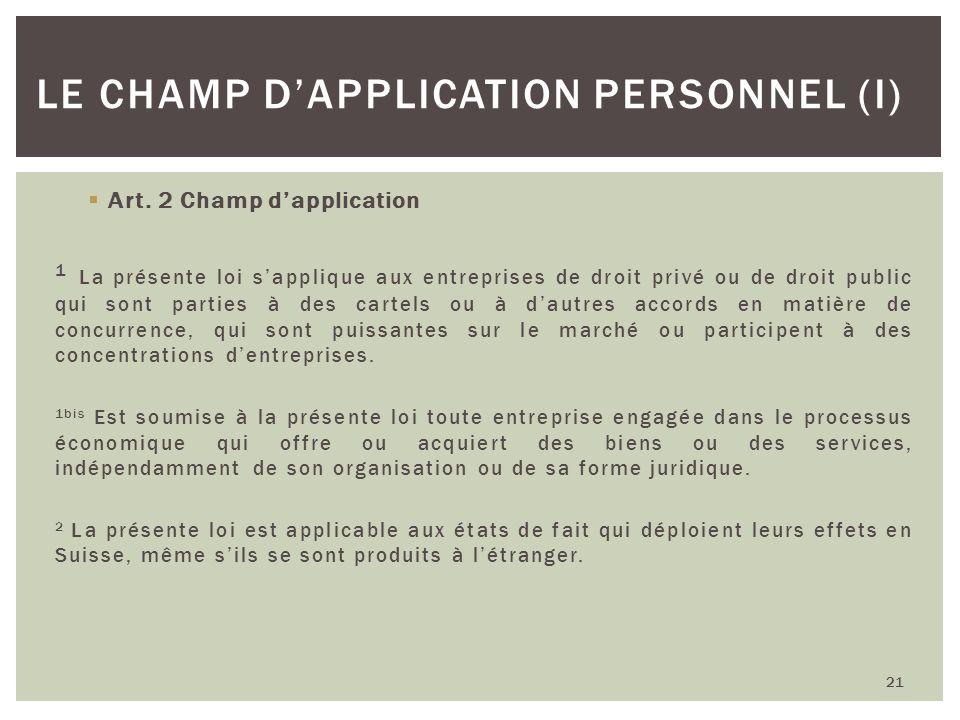 Le champ d'application personnel (I)