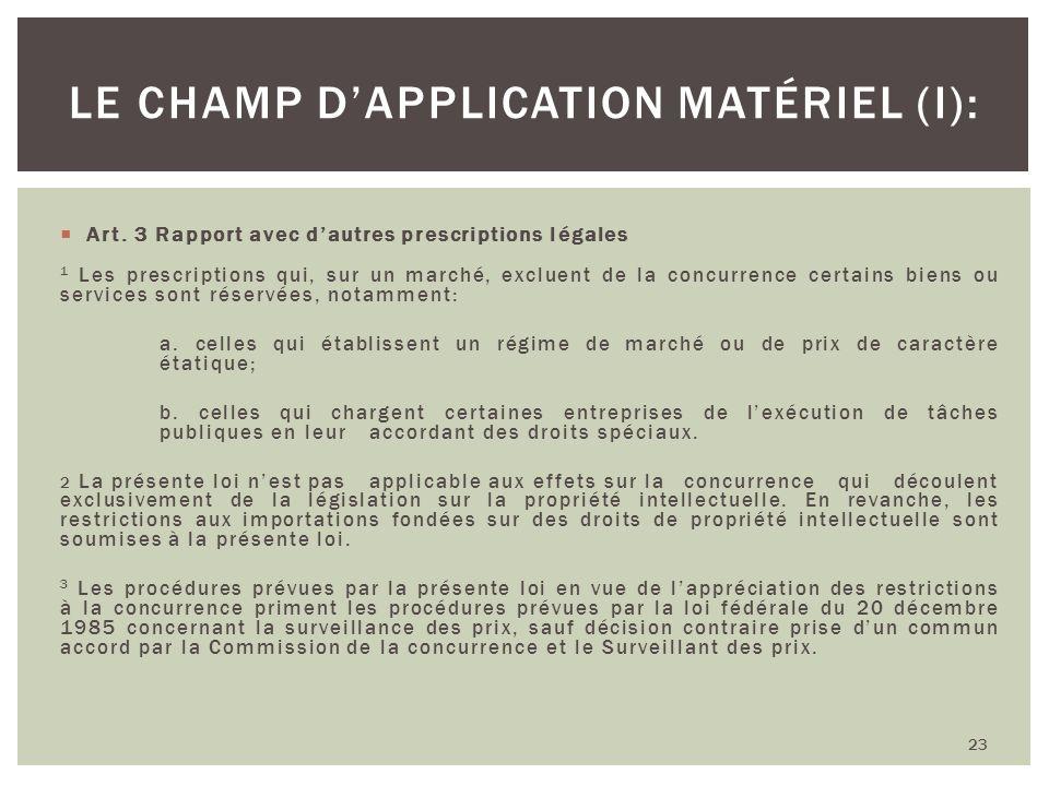 Le champ d'application matériel (I):