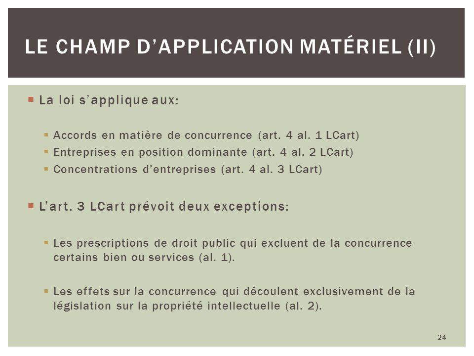 Le champ d'application matériel (II)