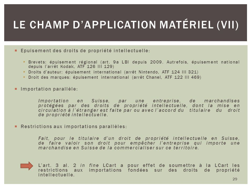 Le champ d'application matériel (VII)