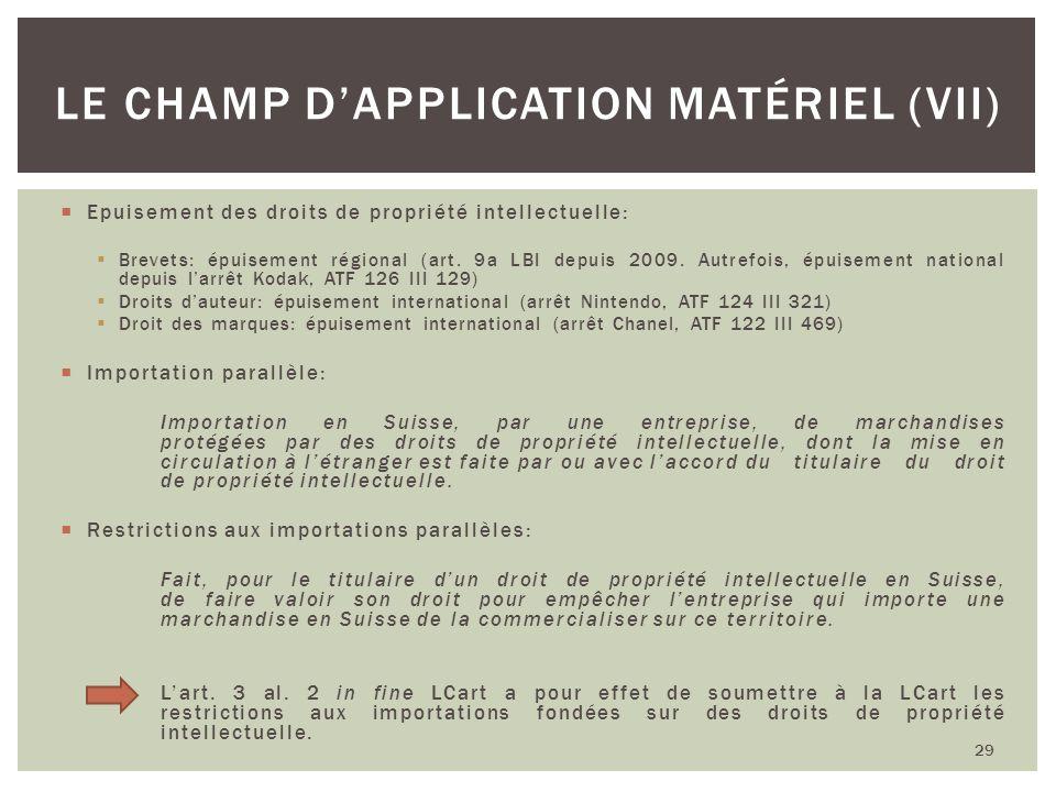 Le champ d'application matériel (VII)