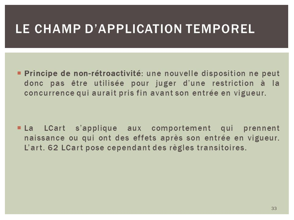 Le champ d'application temporel