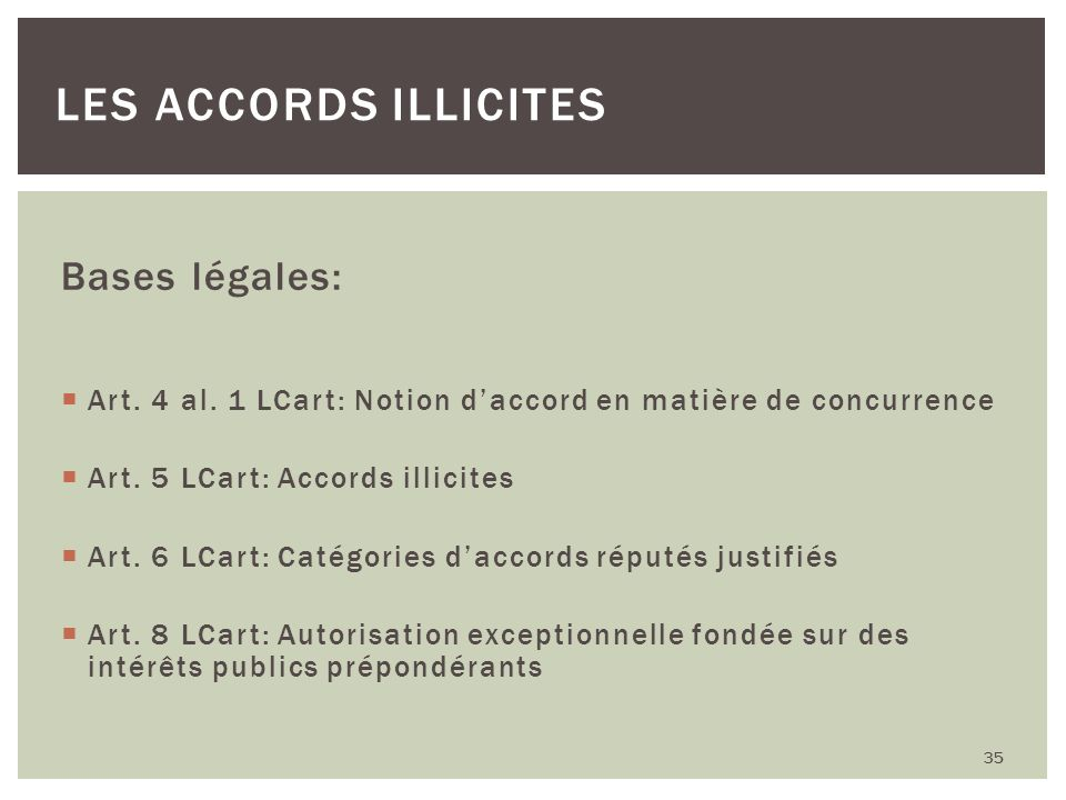 Les accords illicites Bases légales: