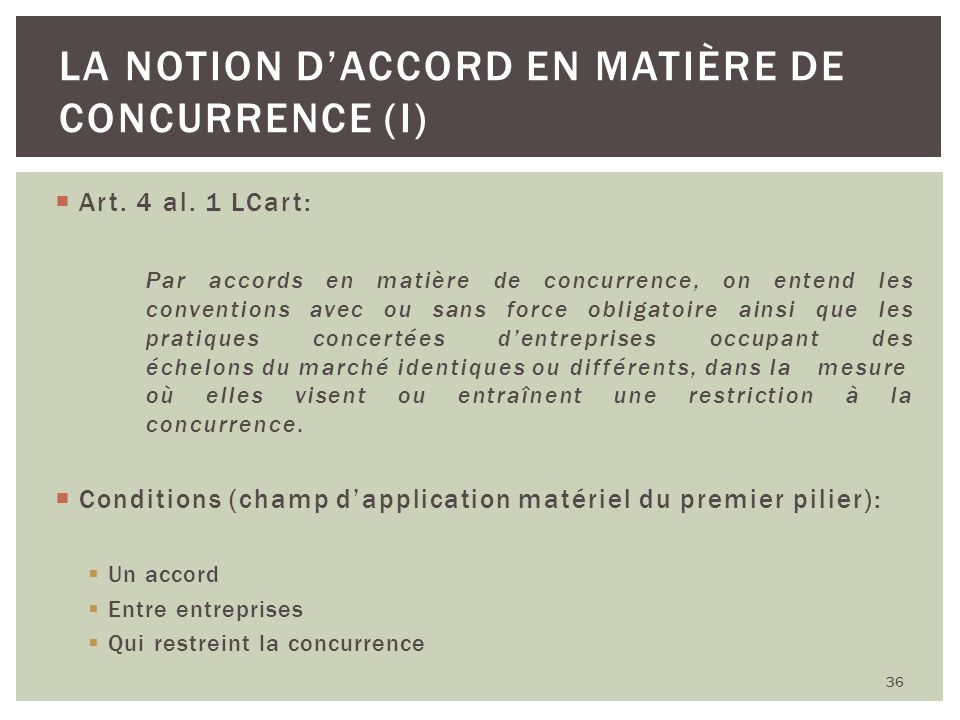 La notion d'accord en matière de concurrence (I)