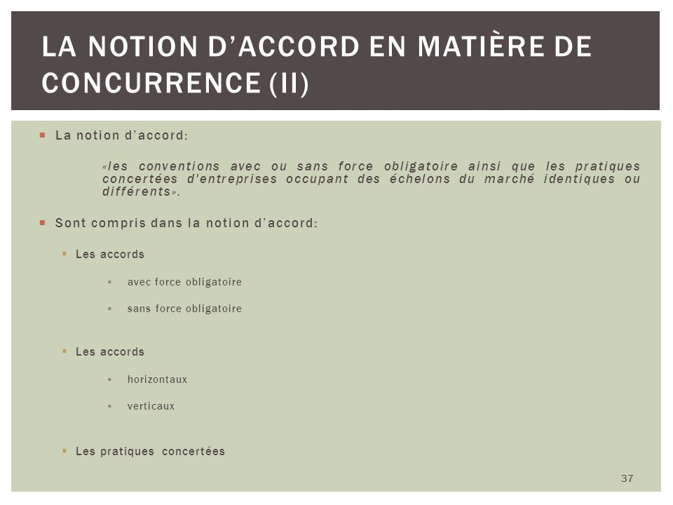La notion d'accord en matière de concurrence (II)