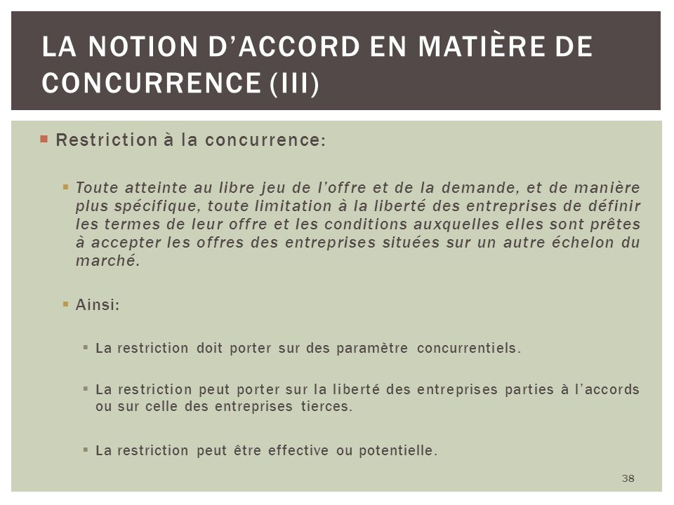 La notion d'accord en matière de concurrence (III)