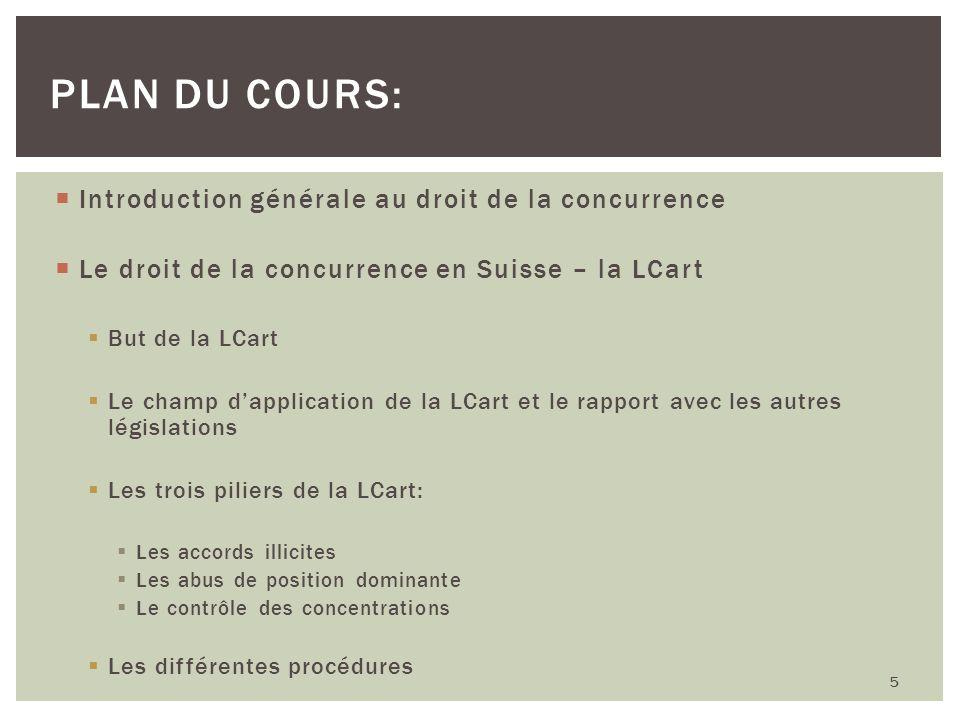 Plan du cours: Introduction générale au droit de la concurrence