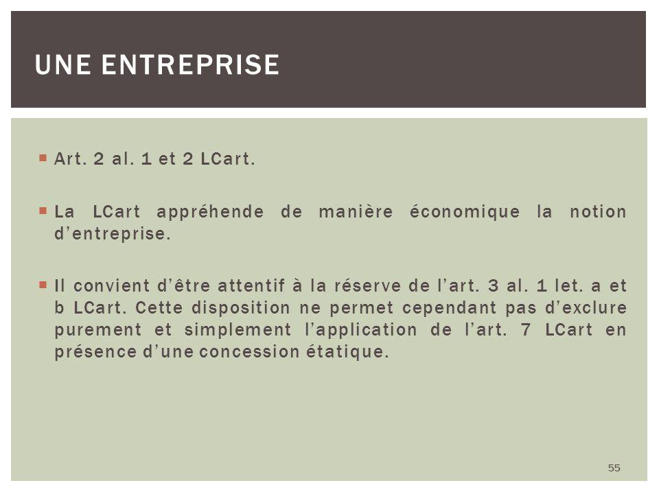 Une entreprise Art. 2 al. 1 et 2 LCart.