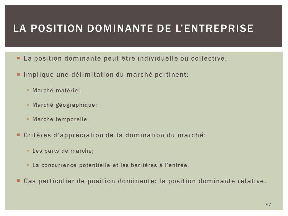 La position dominante de l'entreprise