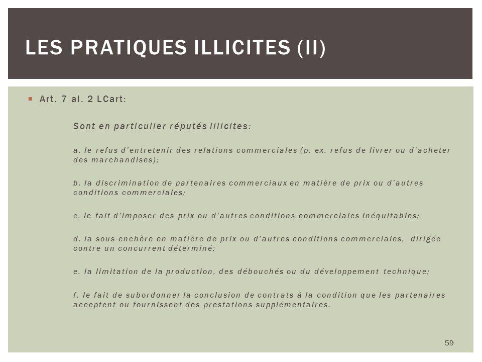Les pratiques illicites (II)